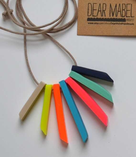 Multi Coloured Clay Necklace by DearMabelHandmade on Etsy, $30.00