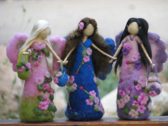 Needle felted flower fairy waldorf inspired