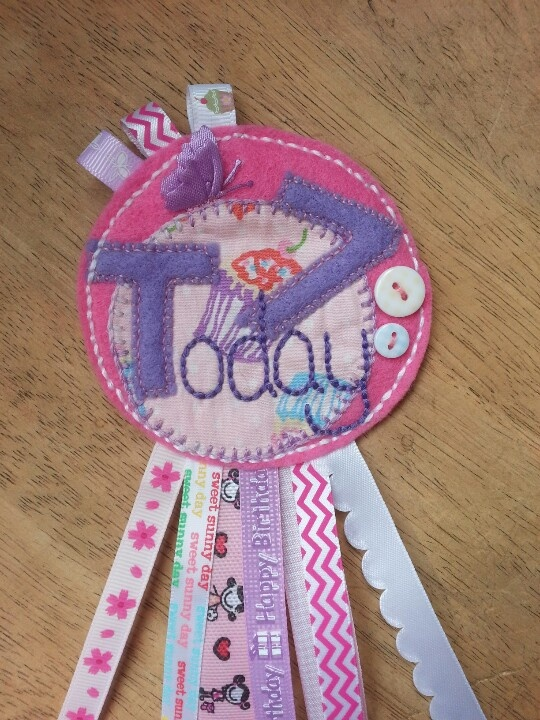 A rosette for the birthday girl - these can be made with any age and name - and for boys too!