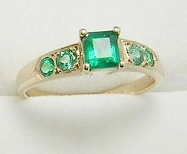 Colombian Square & Round Emerald Ring 0.60 Cts 14K Gold Size 7 Fine Jewelry Muzo #HandmadeByCeci #Solitaire #Engagement