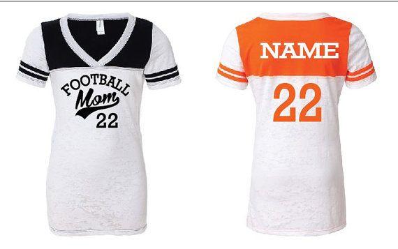 Custom V-neck Football shirt for Football Moms #gamedaywives #gamedayfashion