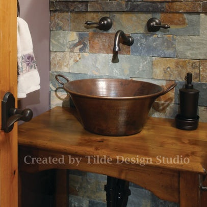 Best Decorating With Copper Images On Pinterest Bathroom - Bathroom vanity with copper sink for bathroom decor ideas
