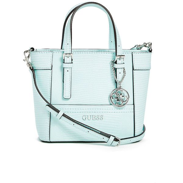 GUESS Delaney Lizard-Embossed Mini Tote (905 ZAR) ❤ liked on Polyvore featuring bags, handbags, tote bags, aqua, mini tote, mini handbags, tote bag purse, handbags totes and mini purse