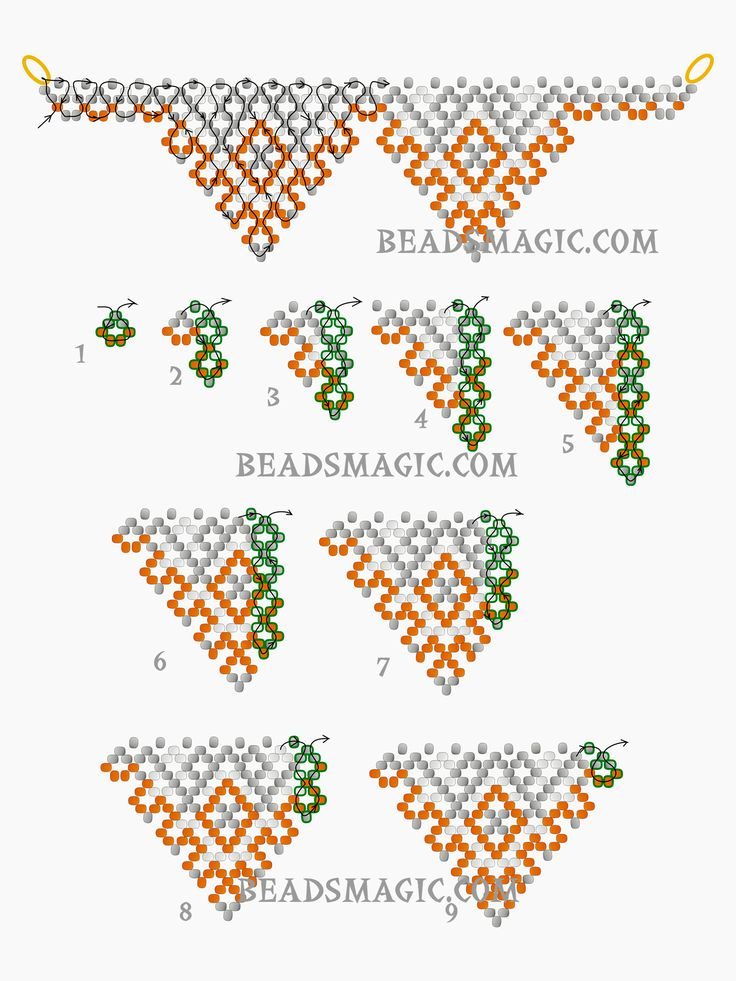 Free pattern for beaded necklace Papaya U need seed beads 11/0 After step 9 continue