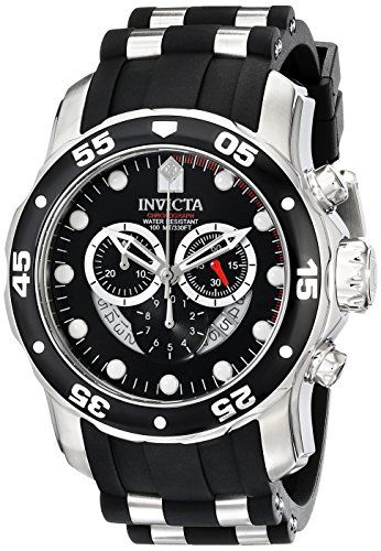 """Invicta Mens 6977 """"Pro Diver Collection"""" Stainless Steel and Black Polyurethane Watch"""