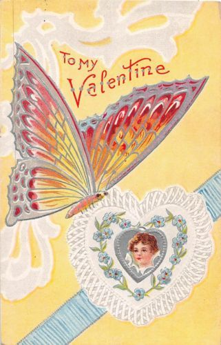 C2-Valentine-039-s-Day-Love-Holiday-Postcard-c1910-Butterfly-Silver-Lined-9
