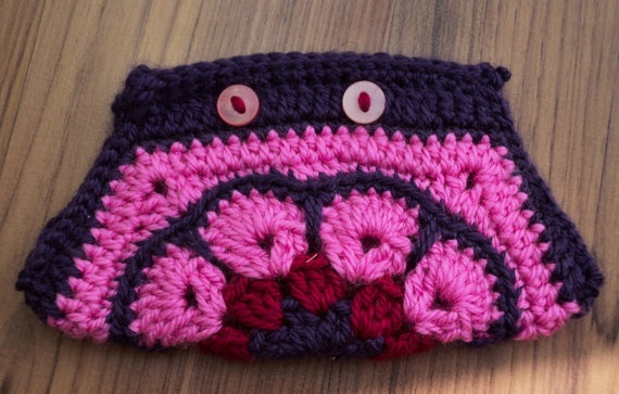 PINK Crochet African Flower Pouch with  by IstanbulMystique, $12.95