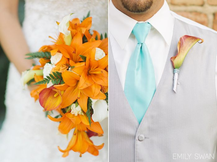 Orange tiger lily bouquet and boutonniere blue tie Sioux Falls wedding