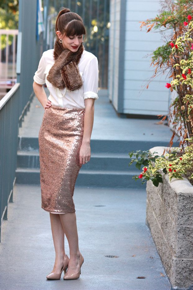 sequin skirt with blouse and fur scarf