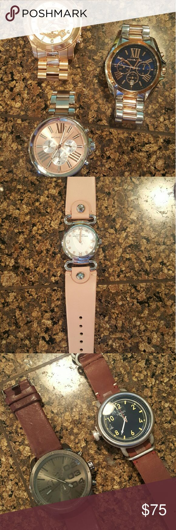 Designer watches Rose gold watch - Michael Kors,  silver and rose gold watch- Michael Kors,   silver watch -Michael Kors, 75$ ea.  Marc Jacobs pink watch 50$ black and gold Michael Kors 20$ men's diesel and Nixon watches 75$ ea. Michael Kors Accessories Watches