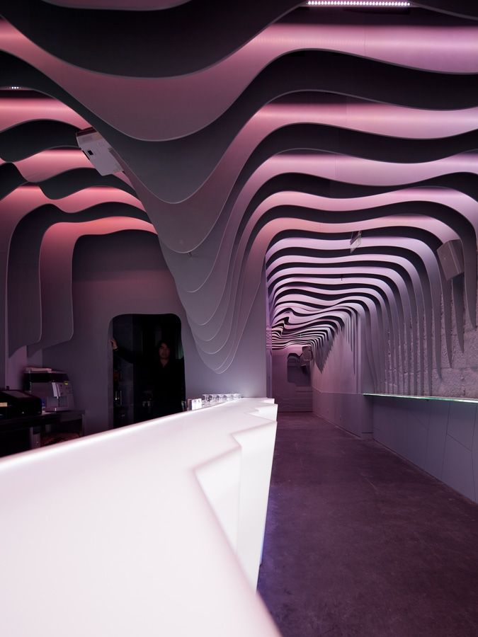 Futuristic design of the fashion night club