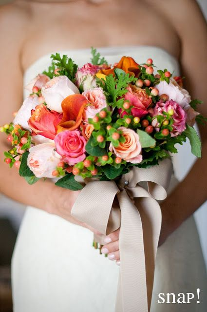 Roses Calla Lilies And Hypericum See More Natural Romantic Wedding Bouquet Sola Flower