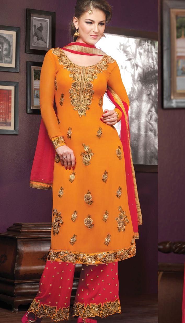 Beautiful Latest Orange Georgette Party Wear Suit, Dress-KPW-54286