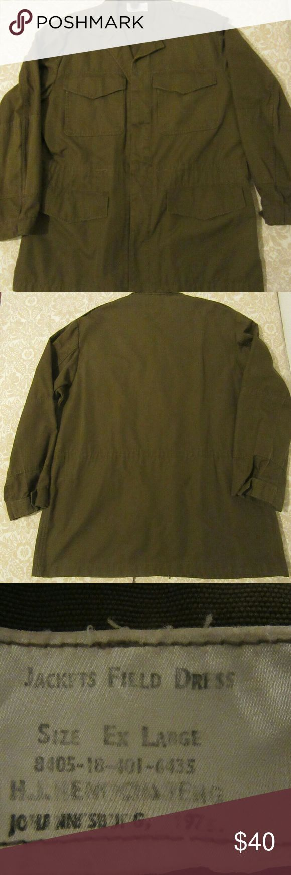 vintage rare vietnam era 75 military field jacket excellent shape  vintage rare vietnam era 1975 military field jacket sz XL  has officers enlisted name   pit to pit 26  shoulder to cuff 24.5  shoulder to shoulder 20  top to bottom 33 military Jackets & Coats Military & Field