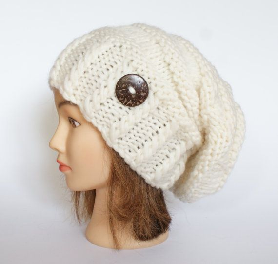 Slouchy Beanie Hats for Women | Wool white slouch hat women - beanies hat - Slouch Beanie - Large hat ...