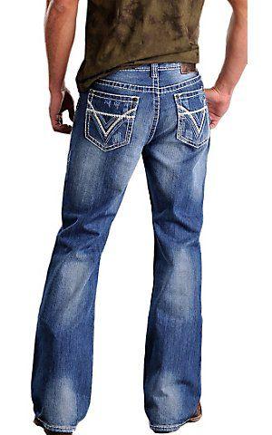 Rock & Roll Cowboy® Medium Stonewash Double V Barrel Relaxed Fit Boot Cut Jeans   Cavender's