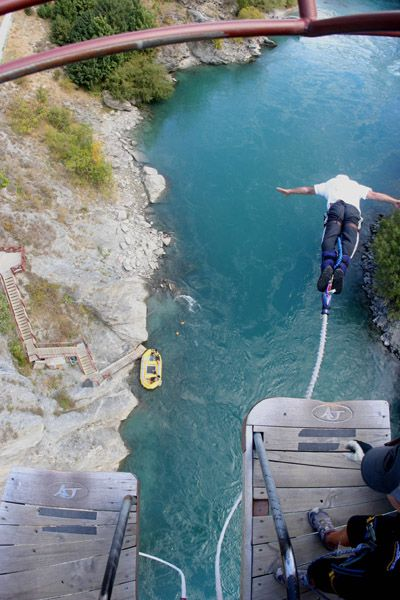 Bungee jump off the Kawarau bridge (where the first bungee jump took place)....Queenstown, New Zealand
