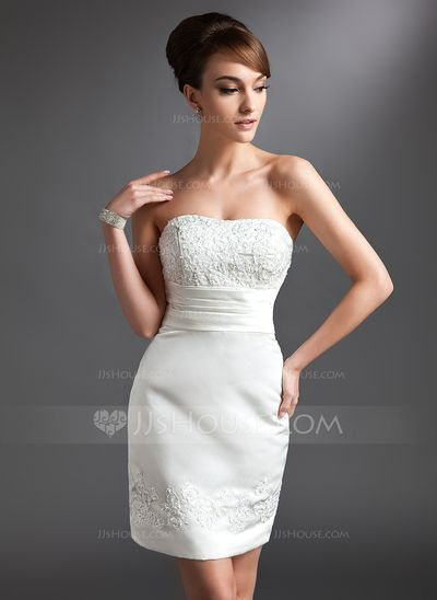 Mother of the Bride Dresses - $128.99 - Sheath/Column Sweetheart Short/Mini Satin Mother of the Bride Dress With Lace Beading (008016380) http://jjshouse.com/Sheath-Column-Sweetheart-Short-Mini-Satin-Mother-Of-The-Bride-Dress-With-Lace-Beading-008016380-g16380