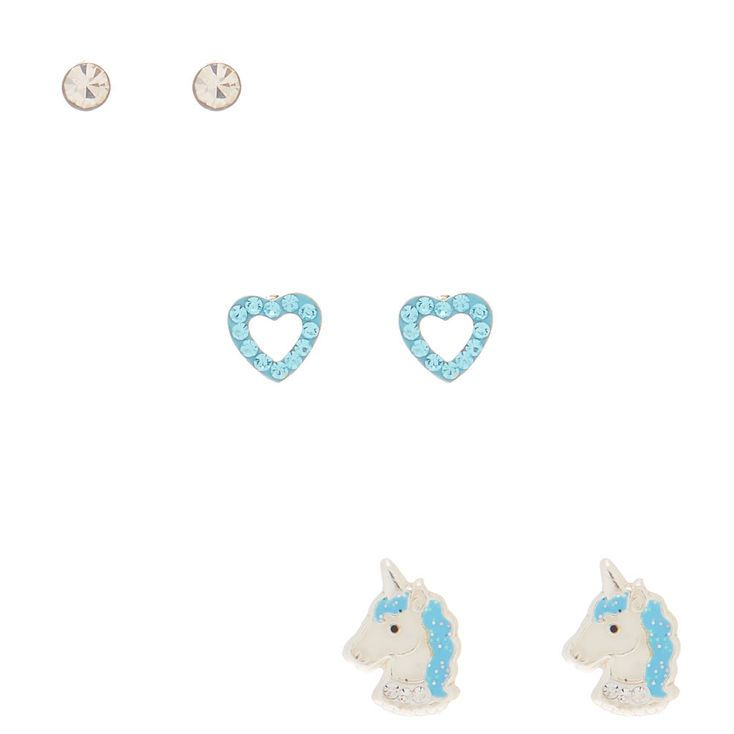 504cc1074 Claire's Sterling Silver Unicorn Love Stud Earrings - Baby Blue, 3 ...