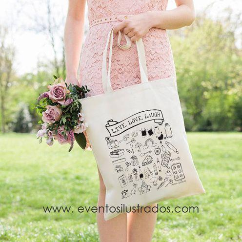 Bolsas de algodón eventos ilustrados #love #live #laugh