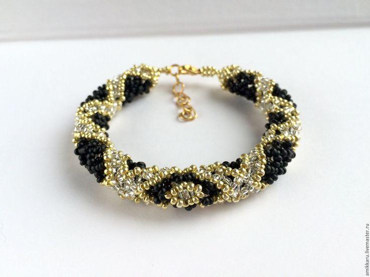 Купить Браслет жгут из бисера черно-золотой - браслет из бисера, золотой браслет