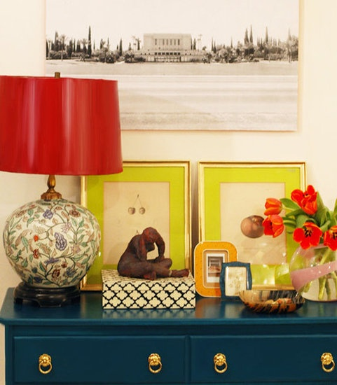 I love everything about this- the colors- the mix match of textiles and everything about it.