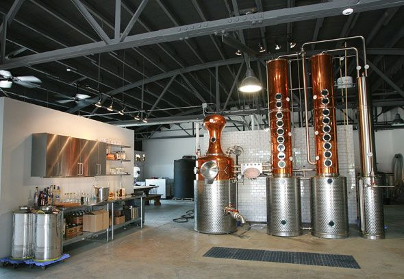 Middle West Spirits features a Kothe pot-column still fashioned of copper and stainless steel. It was made in Germany and installed on site earlier this year. (Jodi Miller photo)
