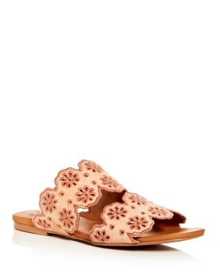 96ed722d9a7 See by Chloé Women's Floral Eyelet Suede Slide Sandals | GOLDIE ...