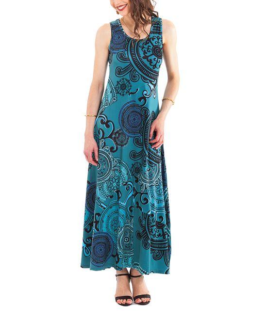 Blue Floral Medallion Tank Maxi Dress