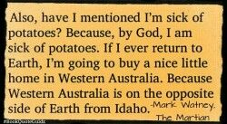 Mark Watney and his Love-Hate Relationship with POTATOES!! -THE MARTIAN by Andy Weir- #bookquoteguidz