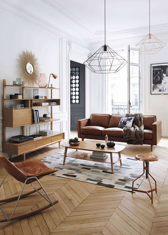 Scandinavian+and+midcentury+modern+mix+in+this+stylish+living+room