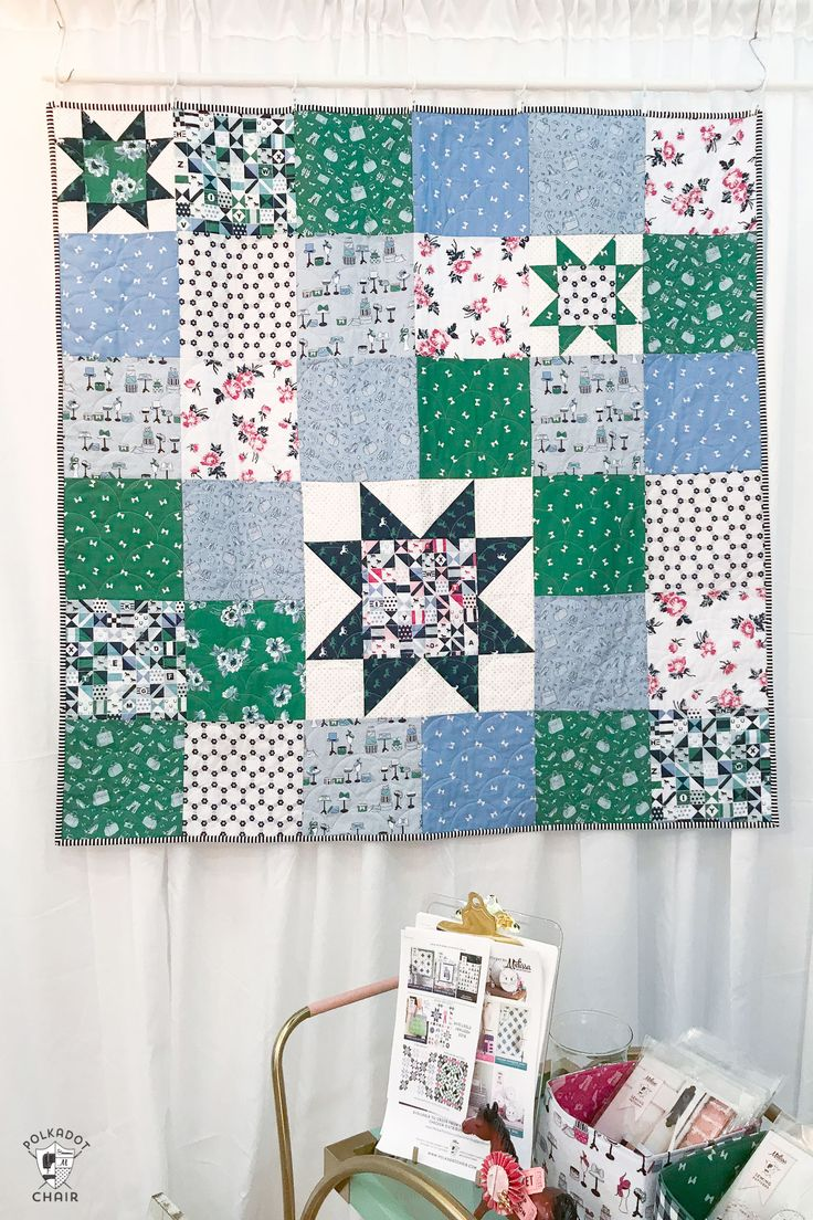 free pattern: simple sawtooth star baby quilt