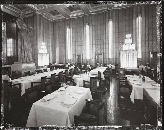 "[S.S. ""Normandie"", Dining Salon, Cabin Class.] DATE:ca. 1935"