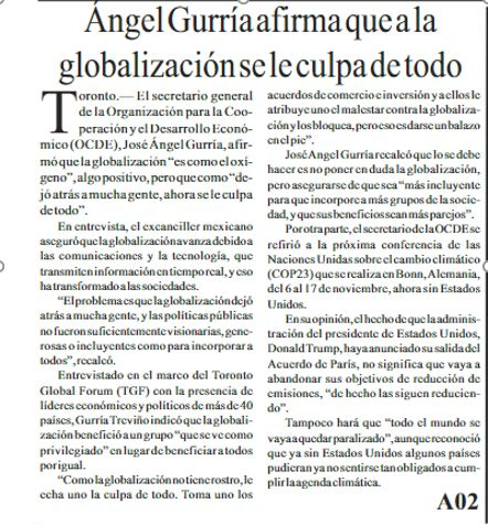 Ángel Gurría afirma que a la globalización se le culpa de todo