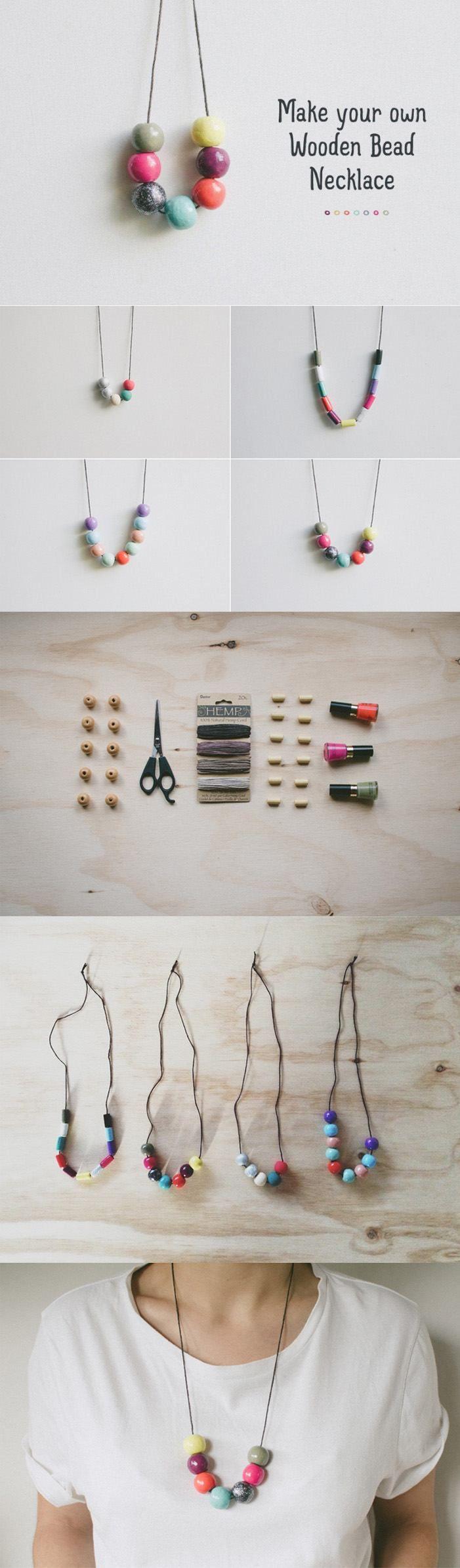 Ingenioso collar DIY - fawnmag.com - DIY Wooden Bead Necklace