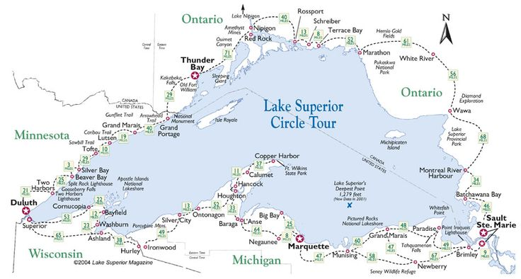 Lake Superior | Lake Superior Circle Tour Map.