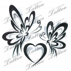 Marketplace Tattoo Butterfly Heart Tribal #15131 | CreateMyTattoo.com