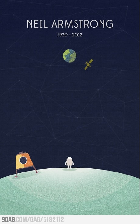 Sweet Art Tribute to Neil Armstrong - By graphic designer and illustrator