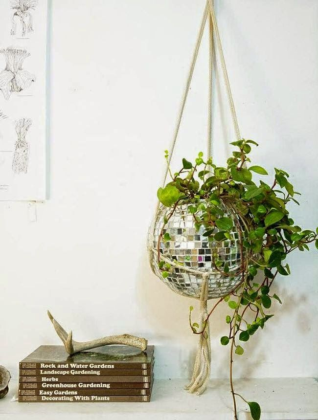 Disco Ball hanging planter. Could easily DIY