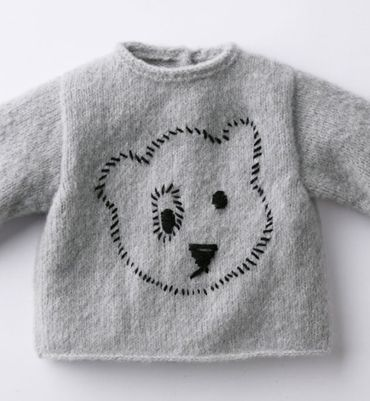 Modèle pull brodé ours layette