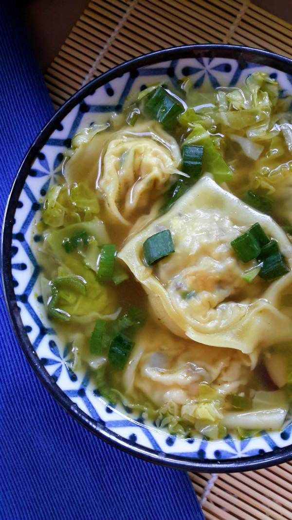 Have you ever made wontons at home? It's not so hard! Try these vegan wontons stuffed with tofu and shiitake mushrooms served in a very easy and simple cabbage soup.