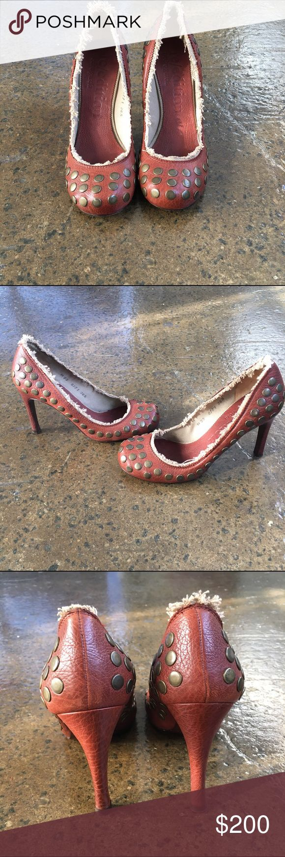 Pedro Garcia Round Toe Pump Designer leather pumps by high end fashion house Garcia Pedro. All leather with a frayed look studded and in pristine condition. Shoes Flats & Loafers