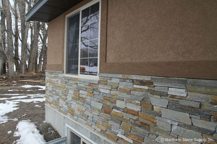 Stone Veneer Elevation : Trim around window above stone sill rocky mountain