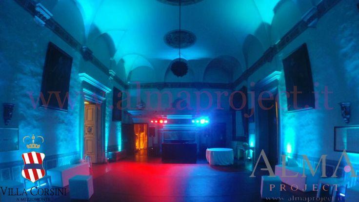 ALMA PROJECT @ Villa Corsini - Sala della Guardia - Led Bars Deejay set subwoofer tiffany lounge eva black console 432