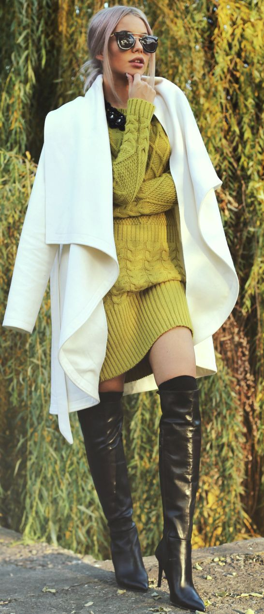 white coat, green sweater knit dress. women fashion outfit clothing style apparel @roressclothes closet ideas