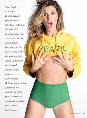 """A pouco mais de um mês da Copa do Mundo, a top model Gisele Bündchen protagonizou um ensaio em verde e amarelo para a """"Elle"""" italiana. A edição de maio da revista exalta a beleza da brasileira e sua relação com a saúde e o bem-estar Foto: Reprodução"""