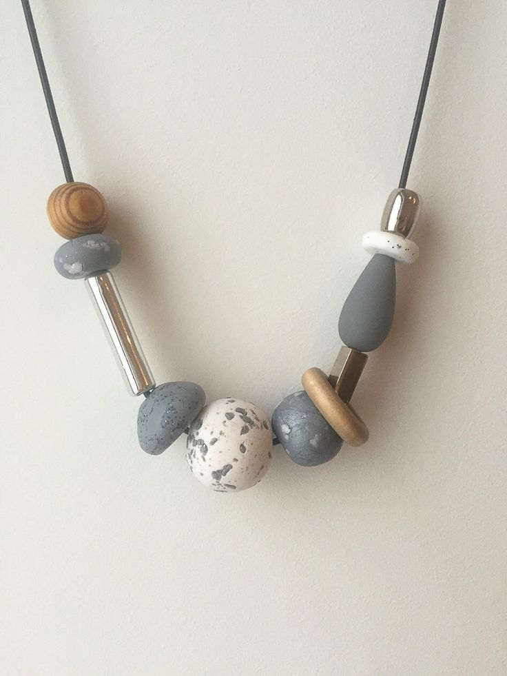 Necklace no. 12 | polymer clay, wood, resin and silver by TheQuietObsession on Etsy https://www.etsy.com/listing/238291455/necklace-no-12-polymer-clay-wood-resin