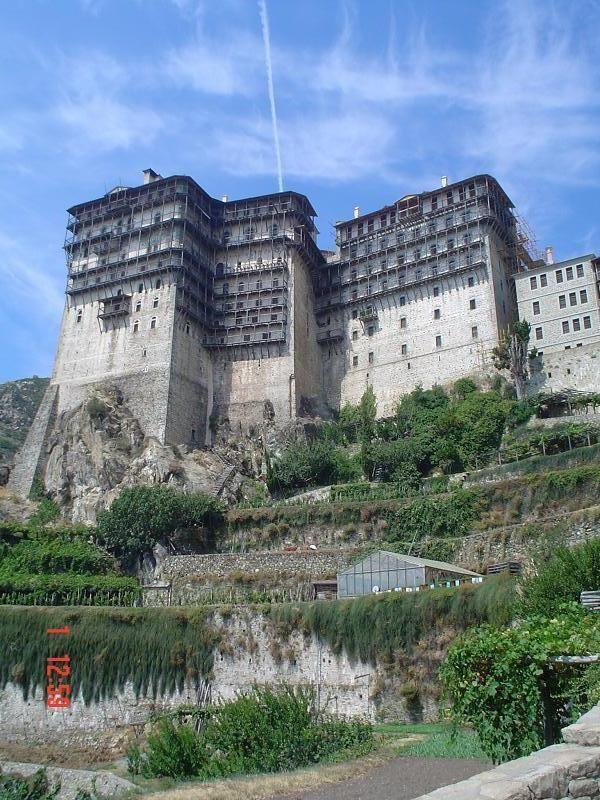 Simonos Petras monastery, Mount Athos in Chalkidiki