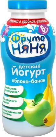 ФрутоНяня питьевой Яблоко и банан 2,5% с 8 мес. 200 мл  — 37р. - Йогурт питьевой ФрутоНяня Яблоко и банан 2,5% с 8 мес. 200 мл. Йогурт содержит пробиотики и пребиотики для правильного пищеварения и поддержки иммунитета. Кальций, содержащийся в напитке, необходим для формирования и укрепления костной ткани и зубов. Белок – строительный материал для организма, обеспечивающий гармоничный рост и развитие. В йогурт добавлено натуральное пюре из яблок и банана. Особенности:  Жирность 2,5%…