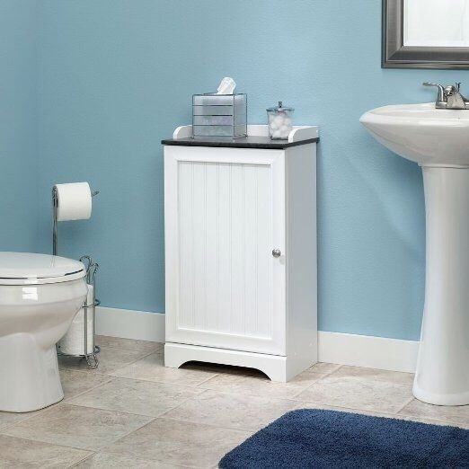 Bath Floor Storage White Finish Elegant Shelf Unit Shower Shelves Organizer